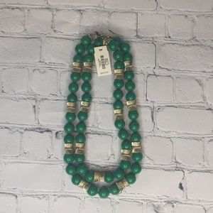"""Talbots green & gold tone 18"""" necklace NEW"""